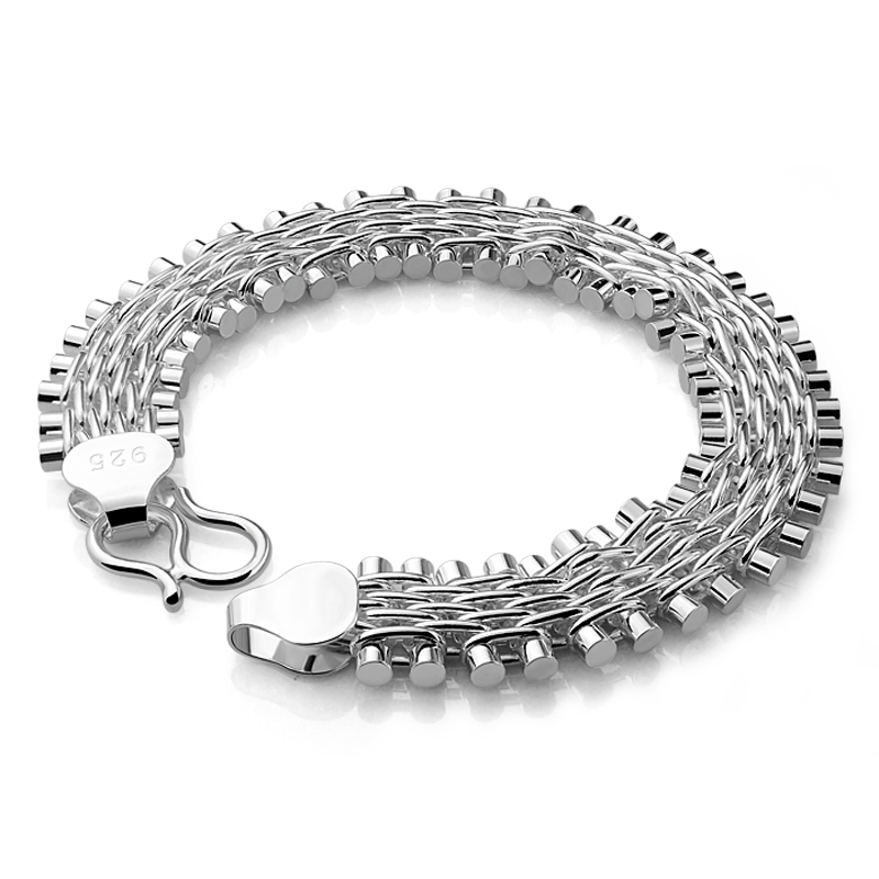925 genuine solid silver 100% silver link chain bracelet men sterling silver jewelry bracelet . Silver bracelet charm women