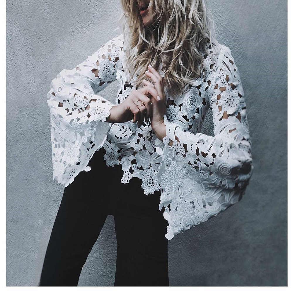Hollow out çan kollu dantel bluzlar Kadın 2018 Bahar moda beyaz kırpma üstleri Kırmızı siyah blusa feminino Seksi tığ işi yaz tops