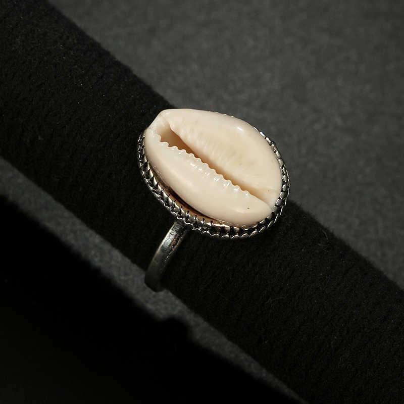 Tocona Bohemian Warna Perak Antik Shell Midi Jari Cincin untuk Wanita Musim Panas Pantai Perhiasan Anillos Aksesoris 4282