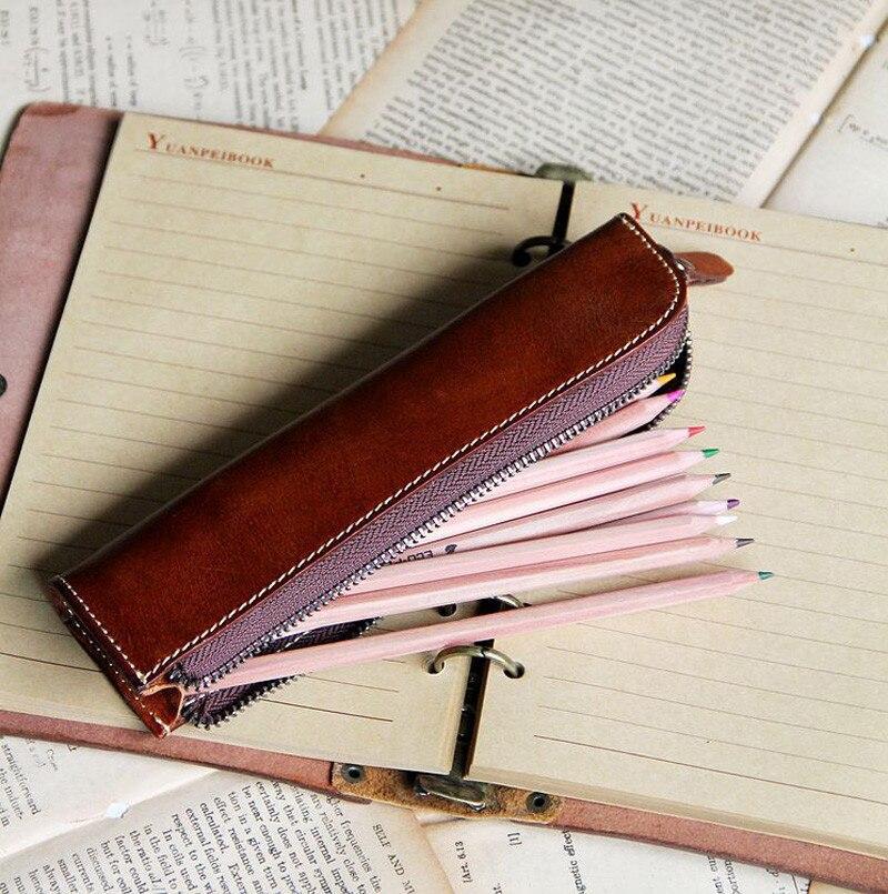 Vegetal couro curtido lápis caneta papelaria saco Vintage