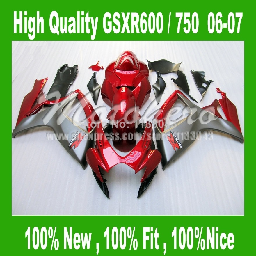 Fairings for SUZUKI GSXR 600 K6 06 07 red black GSXR 750 K6 2006 2007 GSX