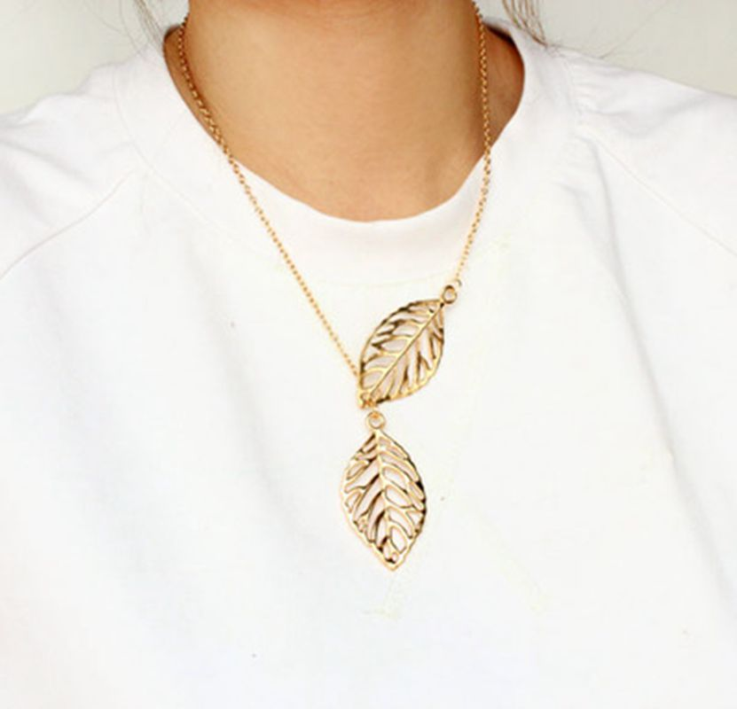 2016 new gold and silver leaf two multilayer statement necklace pendant necklace chain g ...