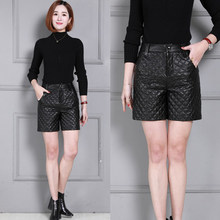 Winter Thick Leather Shorts High Waist Slim Leather Shorts KS18 oh ks18