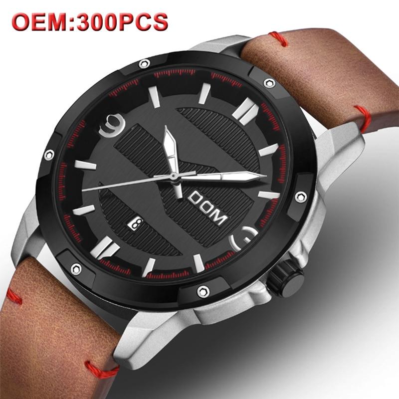DOM personnalisé hommes montre militaire créative de luxe en cuir Quartz montre-bracelet lumineux horloge Sport montre mâle pour votre propre Logo