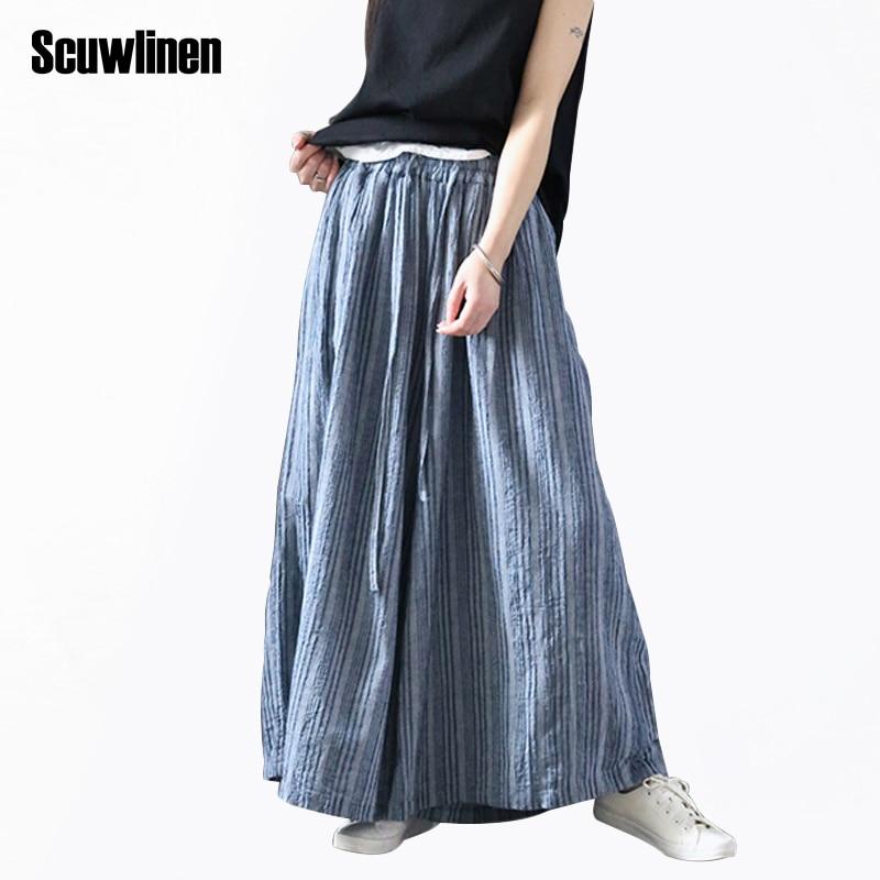 SCUWLINEN 2017 Verão Outono Calças para As Mulheres Cintura Elástica Clássico Listrado Bezerro-comprimento Calças de Linho Casuais Calças Perna Larga W22