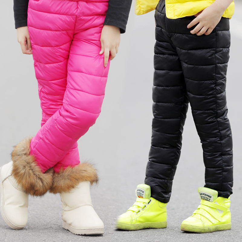 Winter Children's Cotton Down Pants Warm Clothing 2018 Boys Girls High Waist Thickening Trousers For Kids 6 7 8 9 10 11 12 Years