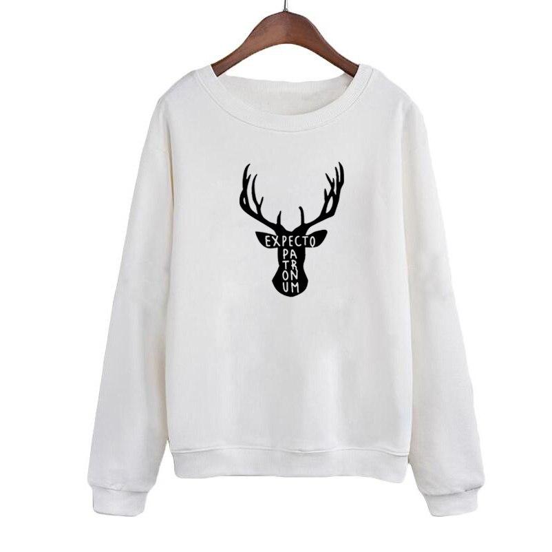 Christmas Harajuku Deer Graphic Printing Crewneck Sweatshirt Womens Tops Expecto Patronum Sayings Fashion Hoodies Black White Women's Clothing
