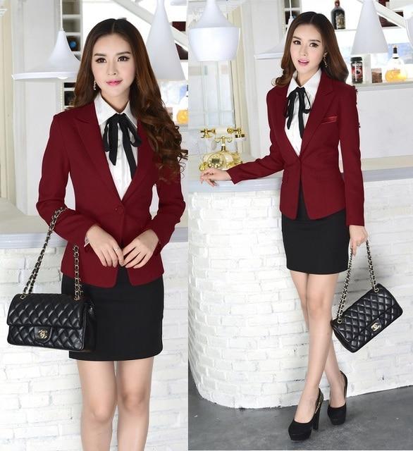 7717a8841a7a Nuevo vino elegante 2015 otoño invierno moda delgado mujeres de los juegos  de falda uniforme Blazer
