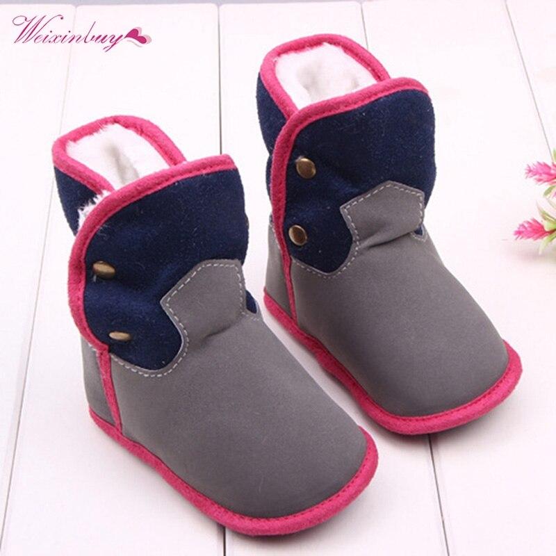 Kid Child Fleece Outdoor Snow Boots Newborn Winter Non-Slip Comfy  Shoes