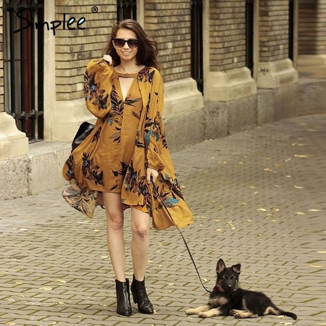 Simplee Vintage pleated boho women dress