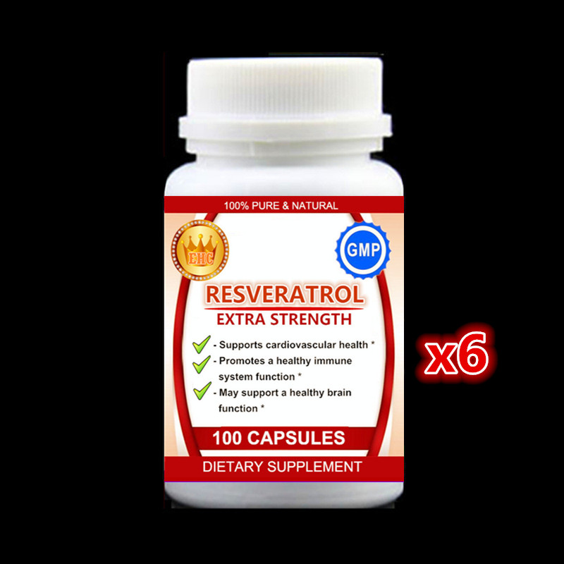 6 bottles Resveratrol - Max Strength Antioxidant, for Heart Health,Weight Loss & Anti-Aging - 100pieces/bottle,Free shipping 2 bottles x 90 pieces bottle black maca powder extracts 100