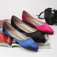 Women Shoes Flats Silks And Satins Series Shallow Mouth Brief Flat Heel Shoes Formal Dress Banquet
