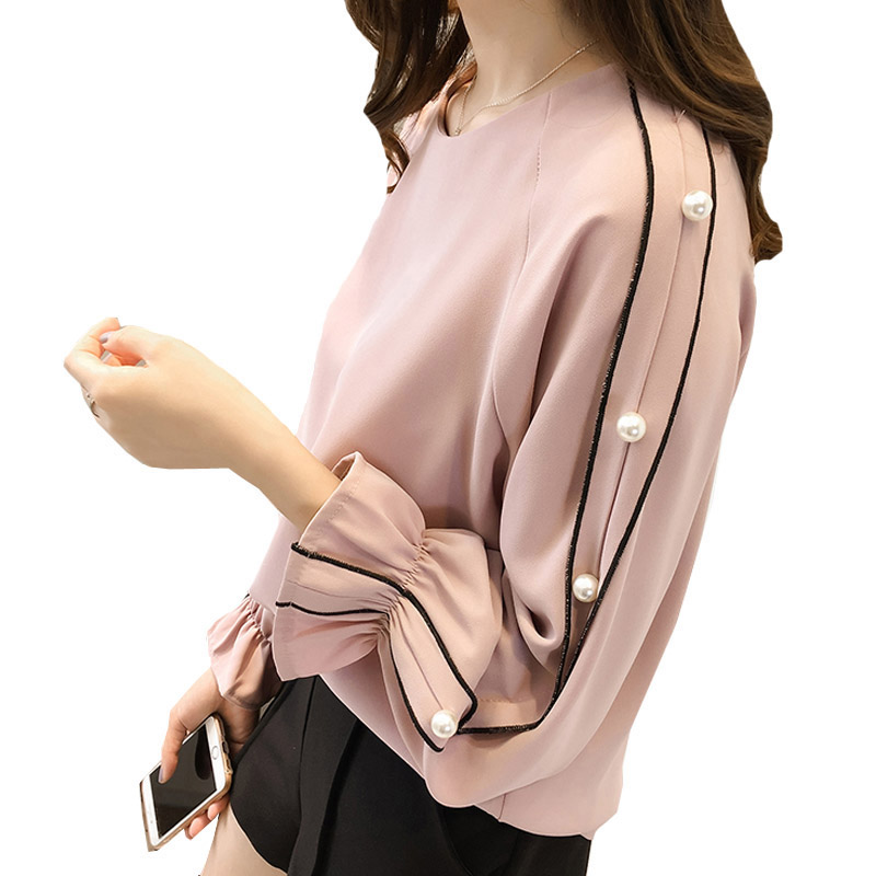 Femme Pink Shirt Women Top Spring Chiffon Beaded Long Sleeve Women Blouse Shirt Pink Blusas Femininas Plus Size 3XL E0036 ...