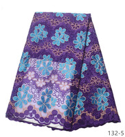 2019 top selling african cord lace High quality french lace fabric Royal Blue African mesh lace fabric for nigerian wedding 132