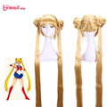 L-email wig Sailor Moon Cosplay Wigs 130CM Long Blonde Synthetic Hair Tsukino Usagi Wig Synthetic Hair Peruca Women Wigs