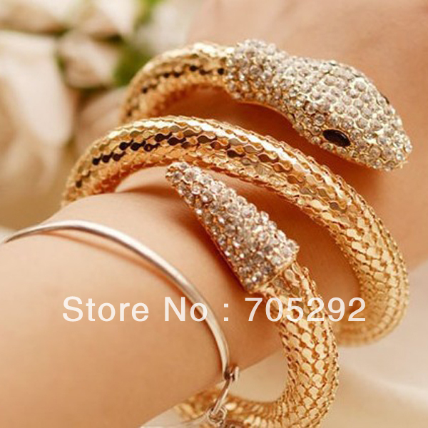 New Arrival Unique Design Gold Plated Snake Chain Bracelet for women Free Shipping