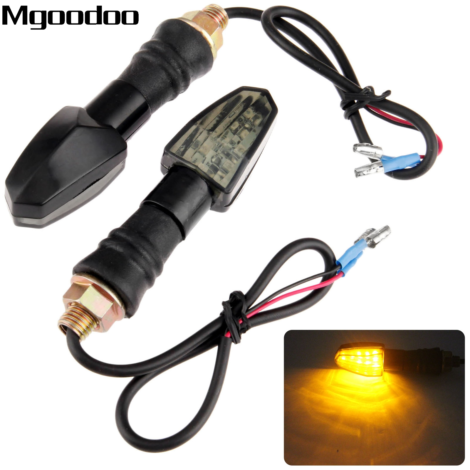 Mgoodoo 2x 12V Motorcycle Universal Turn Signal Indicator Lights Yellow LED Lights Blinker Lamp Flashers Smoked For Honda Suzuki