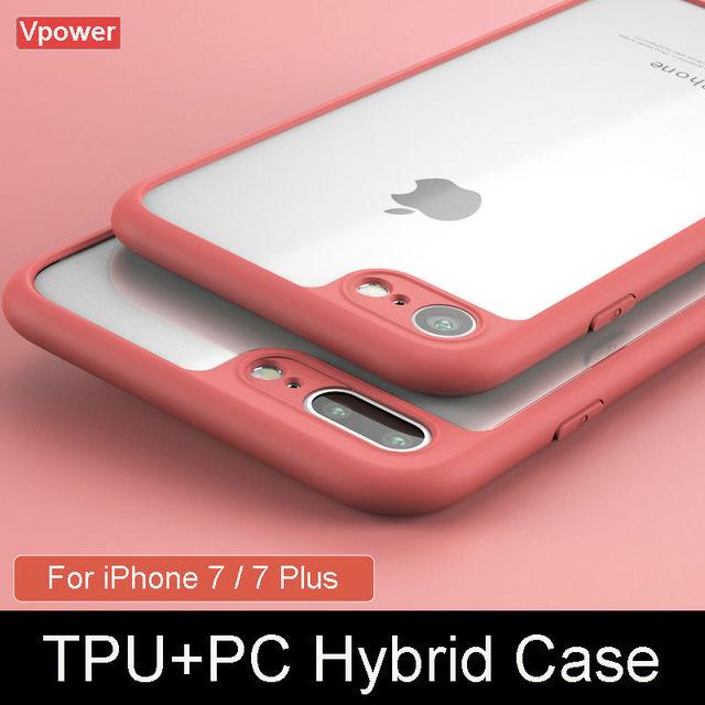 Чехол для iPhone 7 7 Plus крышка Vpower Роскошные TPU + PC Гибридный  прозрачные телефонные чехлы 87320db5ac348