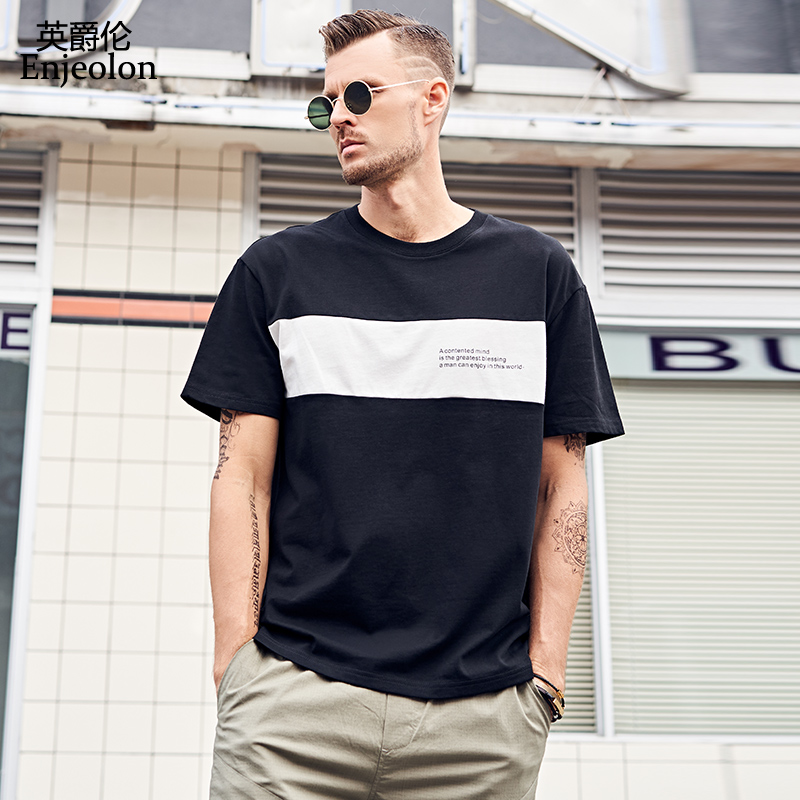 Enjeolon T Shirt Men Summer Short Sleeved O-neck Striped Cotton Casual Tshirts Male Top Tee Shirt Plus Size XXXL T3914