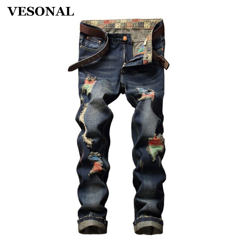 VESONAL 2017 Brand Straight Biker Hip Hop Swag Men Jeans Pants Fashion Casual Vintage Hole Slim Ripped Denim Mens Trousers VE126 2017 fashion mens patch jeans slim straight denim biker jeans trousers new brand superably jeans ripped dark jeans men u329