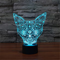 Acrylic 2016 New USB Colorful Small animals-Cat Nightlight Bedroom Office LED Table Lamp Child  Christmas Gift -3D-TD162