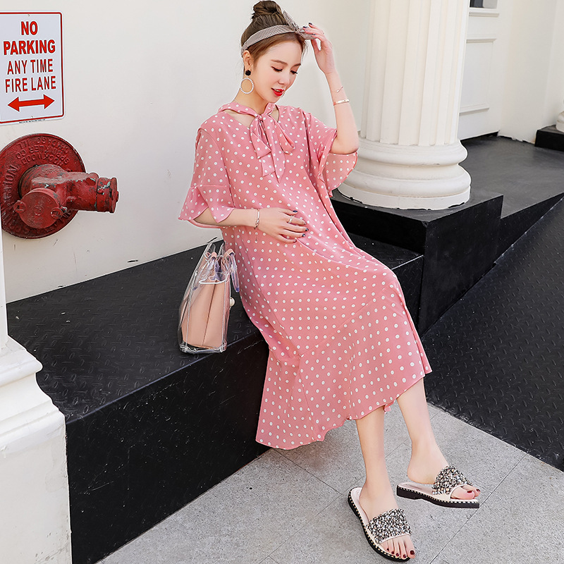 2018 Summer New pregnant women dress loose long chiffon Maternity Dresses Fashion mother maternity clothes Plus Size D097