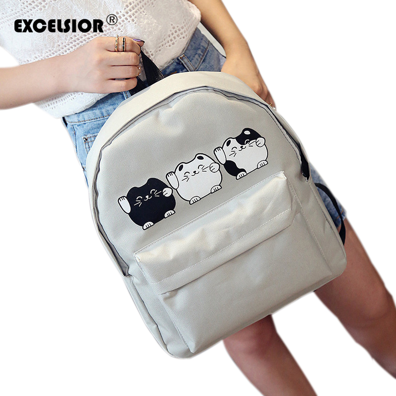 EXCELSIOR Harajuku Style Women Canvas Backpacks Teenage Girls School Bags Cartoon Cat Backpack Female travel Bag Campus rucksack hee grand 2017 platform loafers slip on ballet flats pinted toe shoes woman comfortable creepers casual women flat shoes xwd4879