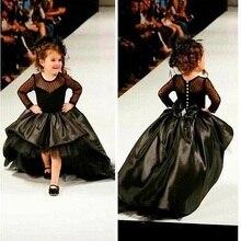 Muhteşem Siyah Pageant elbise Küçük Kızlar Uzun Kollu Balo Seksi Çocuk  Görüntüler Için Çiçek Kız Elbise 050cc5830b93