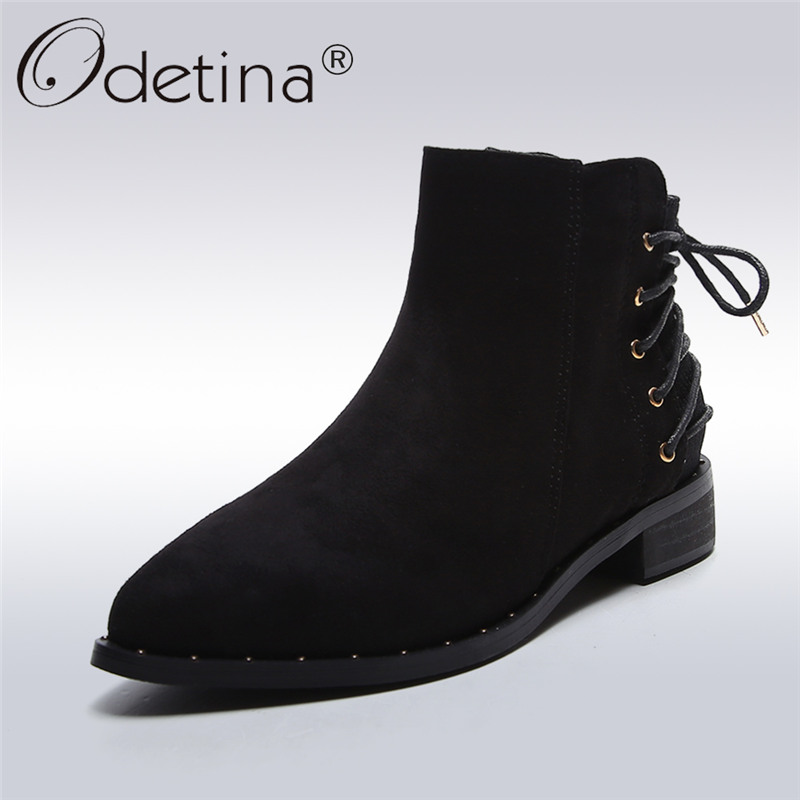 Odetina 2017 Fashion Womens Autumn Low Heel Lace Up Ankle Boots Pointed Toe Chelsea Boots Low Top Rivet Booties Big Size 34-43 fashion pointed toe lace up mens shoes western cowboy boots big yards 46 metal decoration