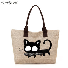 Women Shoulder Bag Canvas Big Capacity Linen Shopping Tote Cute Embroidery Cat Cartoon Cotton Beach Bag Ladies Shopper Handbags цена 2017