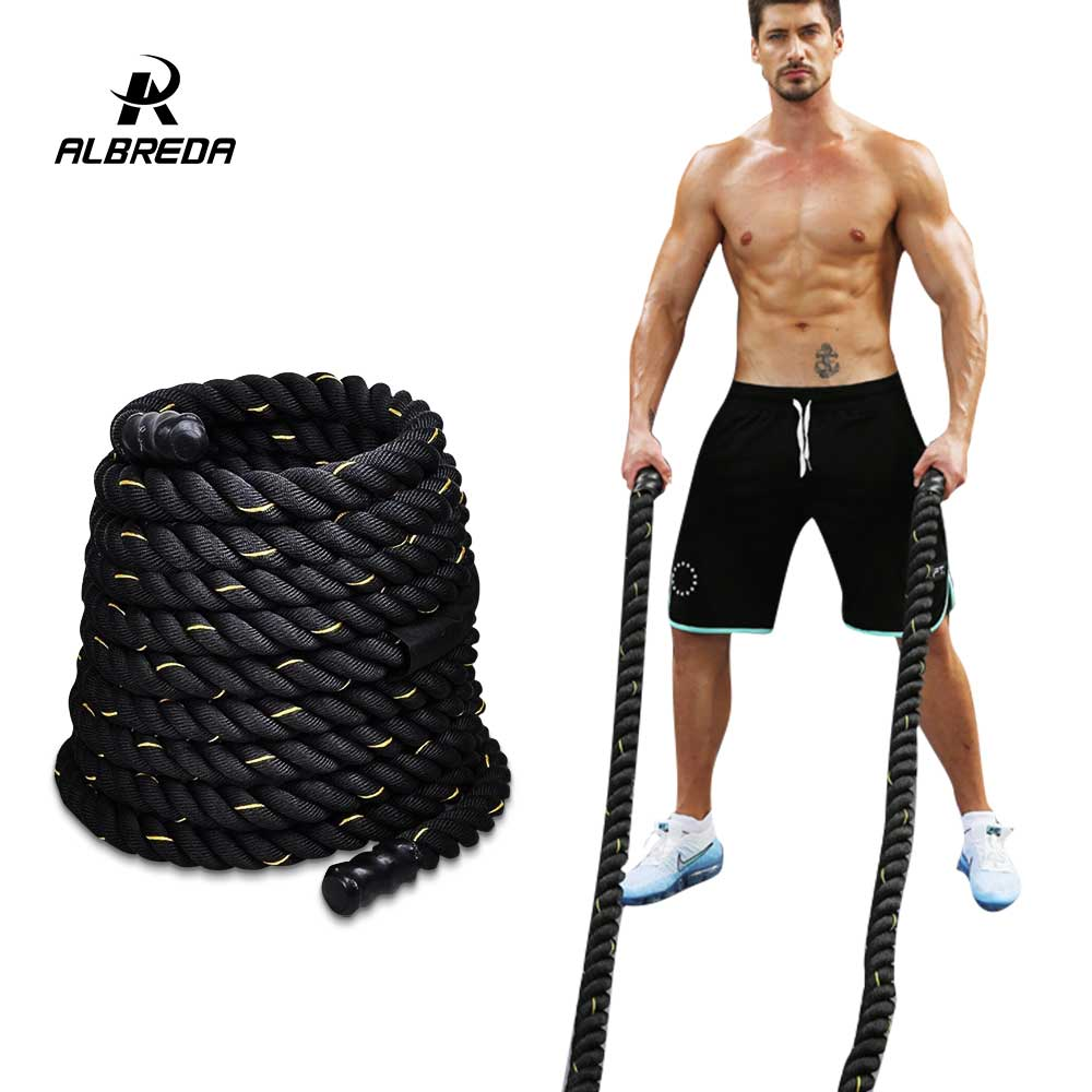 ALBREDA 1.5'' * 40'Poly Dacron Power Training Battle Ropes Gym Workout Training Rope fitness training sports exercise 12m*38mm workout fitness training climbing rope 1 5 diameter no mounting bracket needed battle rope 15 20 25 30 35 40 50 feet