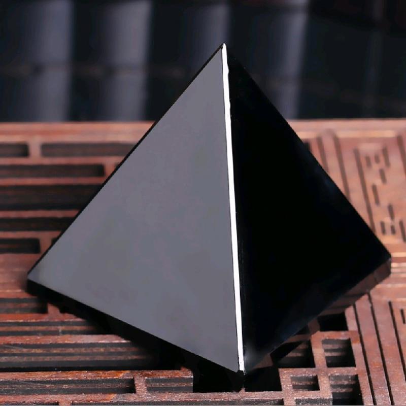 Pyramid vindecare Crystal Artizanat Negru Natural Obsidian cuarț - Decoratiune interioara - Fotografie 5