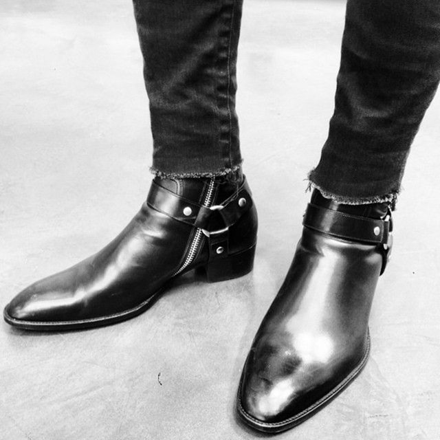 Men's New Fashion Harness Ankle Boots In Leather