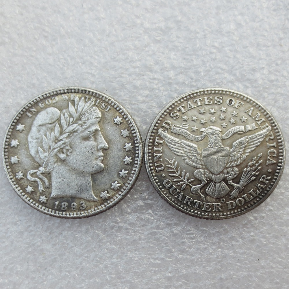 Barber Quarter Dollars Date 1893 1893O 1893S Different signs Material Silver Plated or 90% Silve Copy Coin Free Shipping