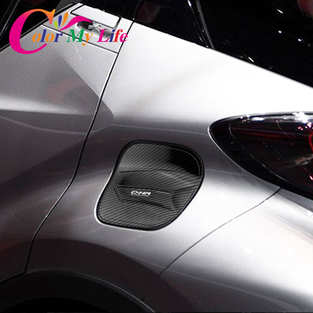 Color My Life Carbon Fibre Car Fuel Tank Protection Cover Cap Trim Stickers for Toyota C-HR CHR 2016 2017 2018 Accessories c c hopkins my life in advertising
