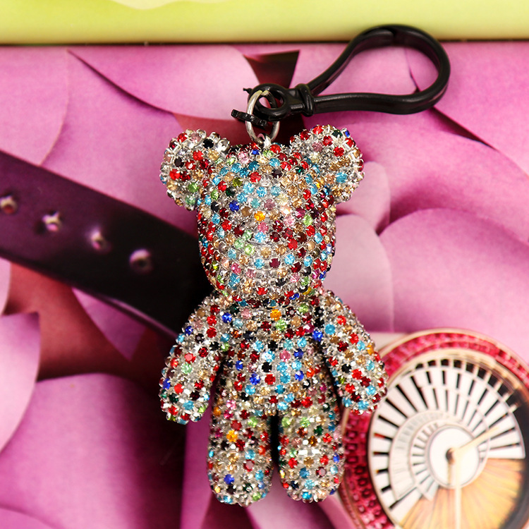 Cartoon Bomgom Bear Popobe Gloomy Bear Keychain Car Tassel Key Chain Ring Holder Charm Rhinestone Bag Pendant Crystal Keyring