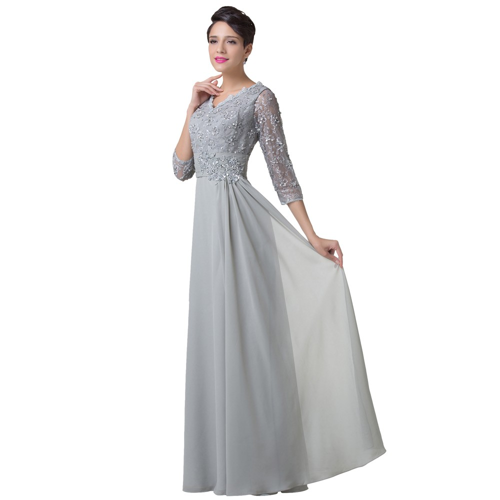 Mother Of The Bride Dresses Grey With Sleeves Chiffon Elegant Women ...