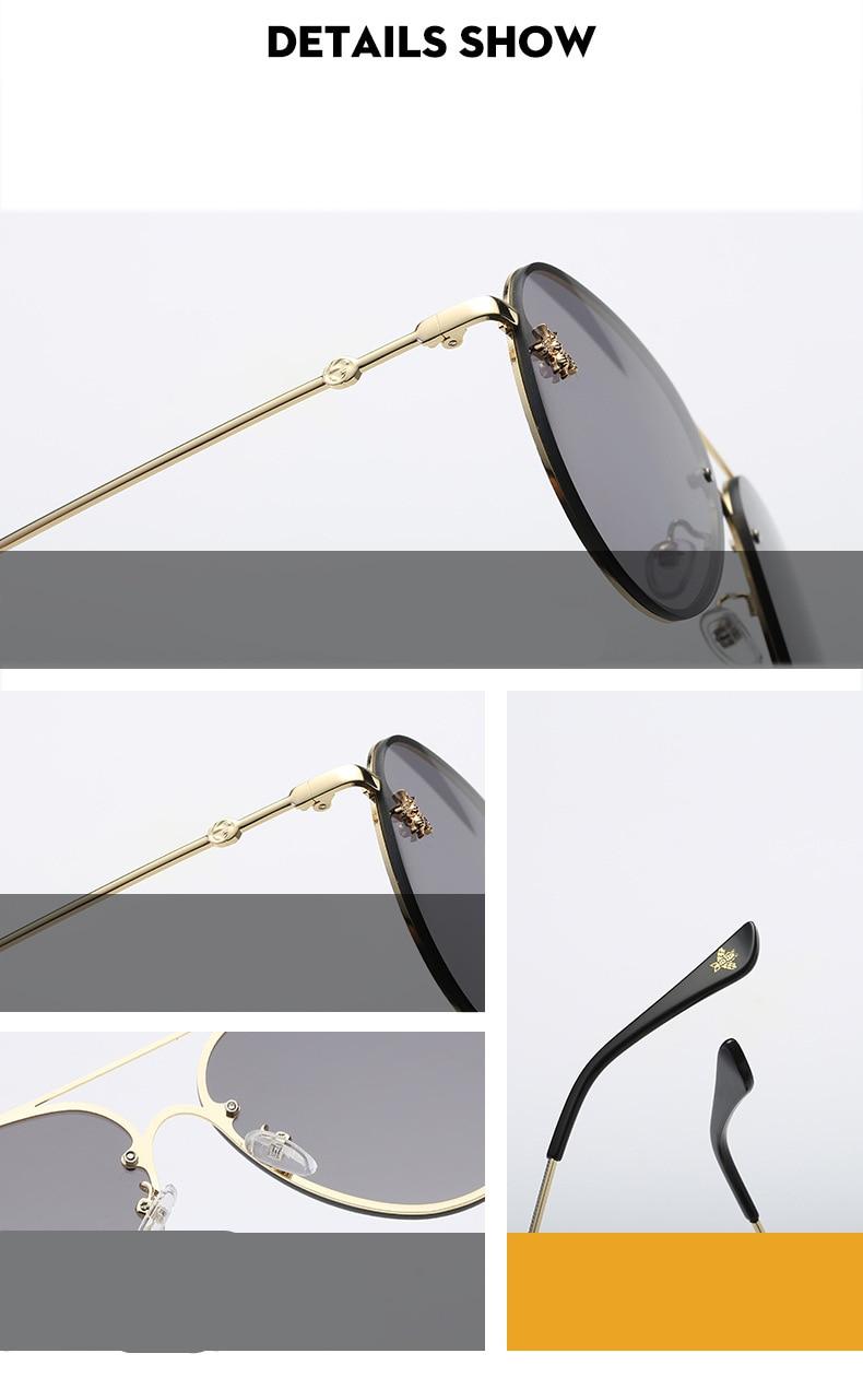 ASOUZ 2019 new fashion ladies sunglasses UV400 metal oval frame bee sunglasses classic brand design sports driving sunglasses (10)
