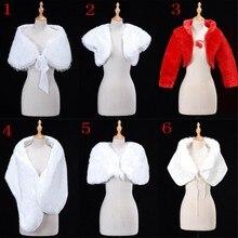 6 стилей, белый, красный, женское свадебное болеро из искусственного меха, накидка-палантин, Короткий плащ, свадебные аксессуары