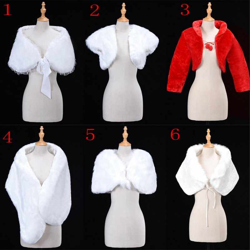 6 Styles White Red Women Wedding Bridal Bolero Faux Fur Wrap Shawl Jacket Cape Stole Coat Short Cloak Wedding Accessories