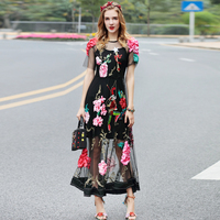 High Quality 2017 Sexy Party Dress Women S Short Sleeve Gorgeous Black Lace Tulle Mesh Flower