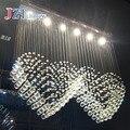 Современный Ресторан хрустальная k9 Люстра для спальни droplight Двойное сердце Светодиодная лампа Свадебная камера подвесной светильник для г...