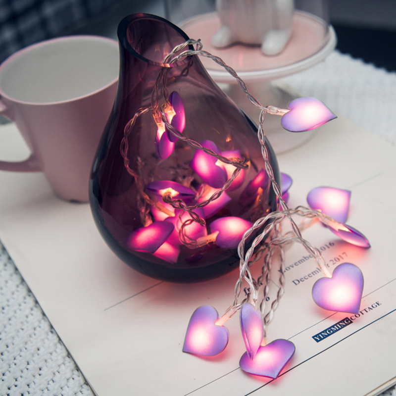 pink Light love heart 10 LED Lantern String Lights hoiliday light for Bedroom Battery Powered