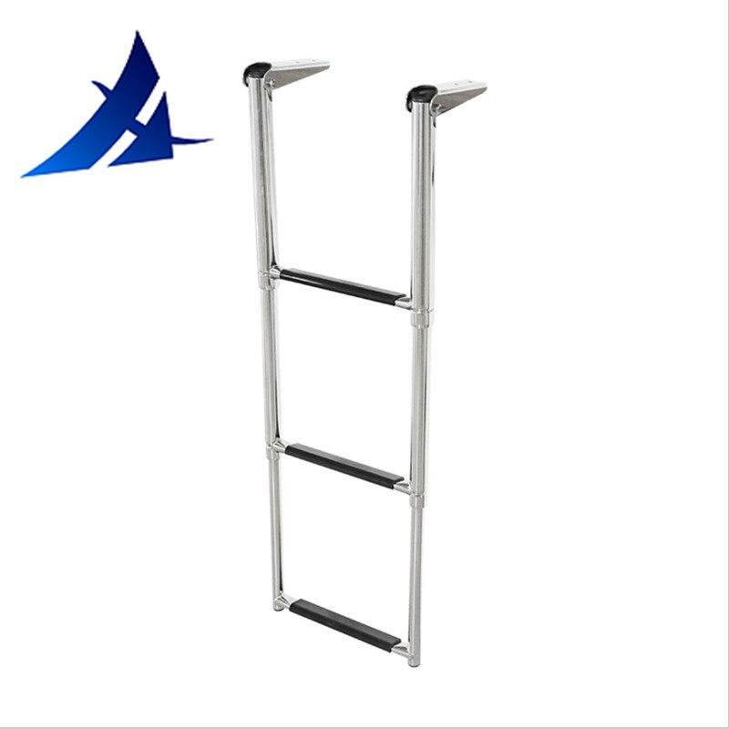 X-Haibei 3 Step Boat Ladder Telescoping Folding Over Platform Boarding Swim Step Stainless Steel Heavy Duty