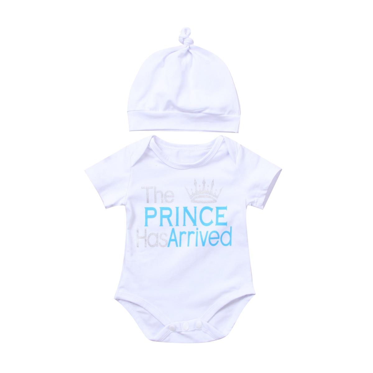 9895629dfe1b 0-18M Newborn Baby Boy Infant Cute Prince letter Romper Jumpsuit Playsuit  Body suit Outfits babies cotton clothes