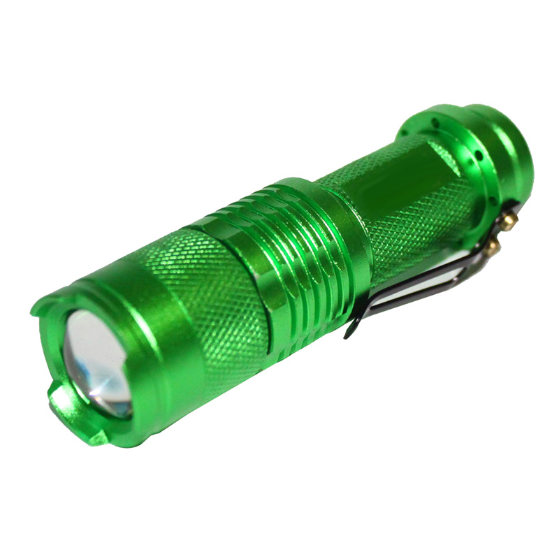 7W 3000LM CREE Q5 LED Mini Focus Zoomable Flashlight green 14500 AA Lam Outdoor light