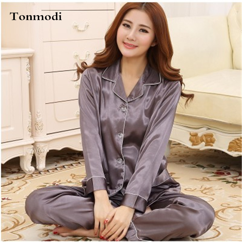 Elegant Luxury Pajamas For Women Spring Sleep Silk Satin Solid Coffee Ladies  Pyjamas Women s lounge Pajama Sets Plus Size 3XL ba6f75f6c