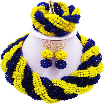 Ethnic Royal Blue Opaque Yellow African Engagement Crystal Bridal Jewelry Sets for Lovers 12C-BZ-31