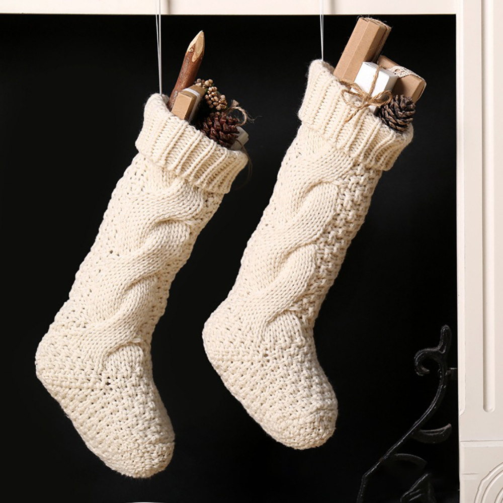 Christmas Holiday Knitted Stocking Hanging Bag Crochet Stock Tree Ornament Decor