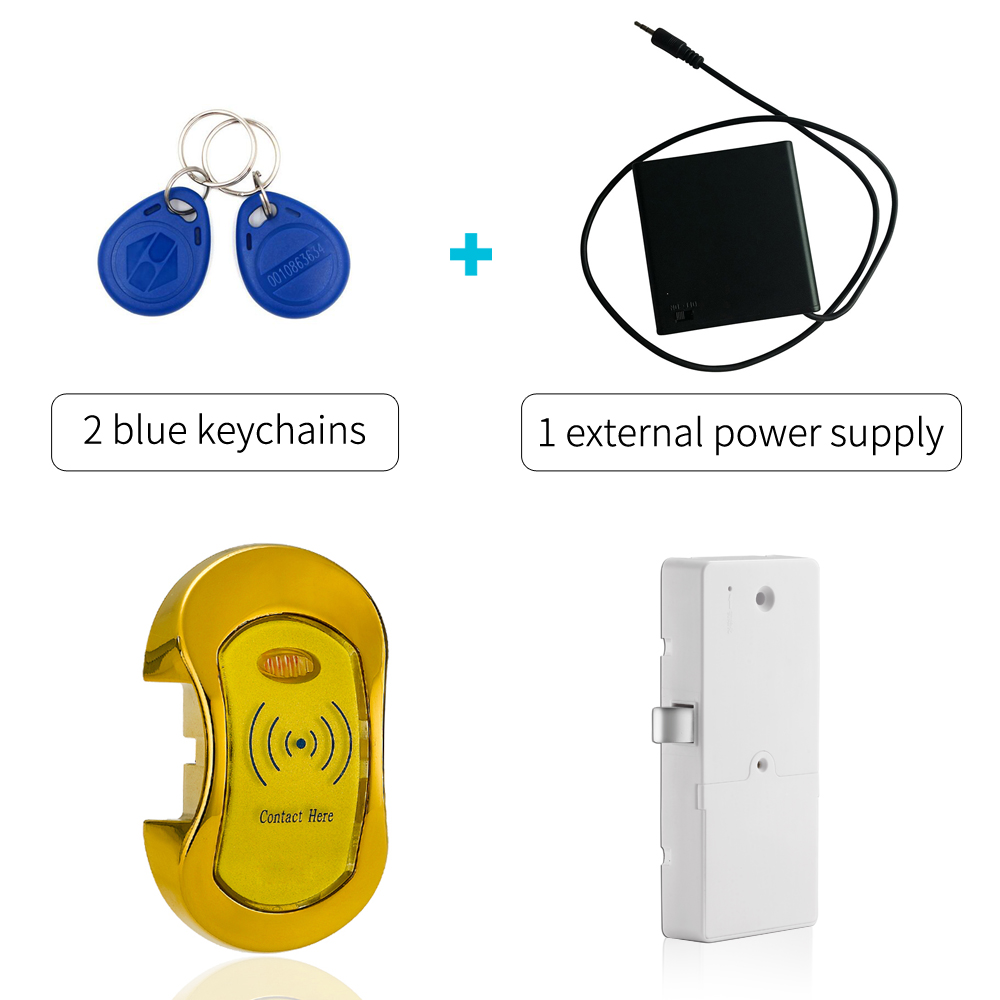 Electronic 125khz Rfid Card Cabinet Locker Lock With 2 Keychains And External Power Supply